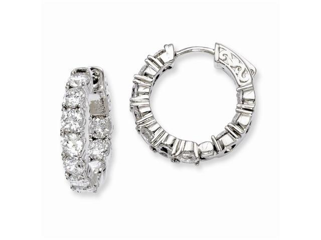 Sterling Silver Rhodium Plated with Synthetic CZ 0.7IN Hinged Hoop Earrings (0.7IN x 0.7IN )