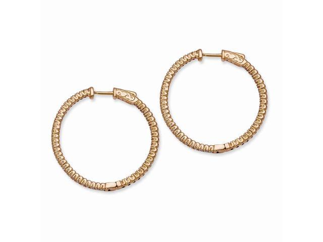 Sterling Silver 14k Rose Gold-Plated with Synthetic CZ Round 1.2IN Hoop Earrings (1.2IN x 1.2IN )