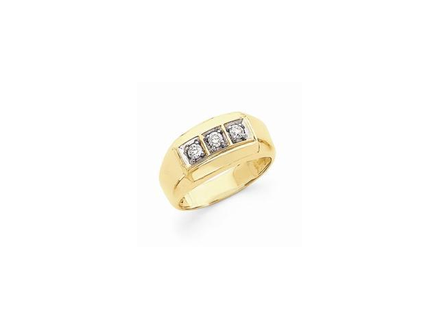 14k Yellow Gold & Rhodium Plated Fine Diamond men's Ring (Color H-I, Clarity SI2-I1)