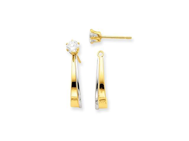 14k Yellow Gold 0.7IN Long & J Hoop w/ Rhodium Plated and Synthetic CZ Earrings