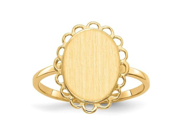 14k Yellow Gold Engravable Signet Ring (11.9mm x 9.1mm face)