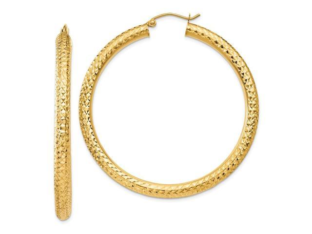 14k Yellow Gold 1.7IN Long 4mm D/C Hoop Earrings