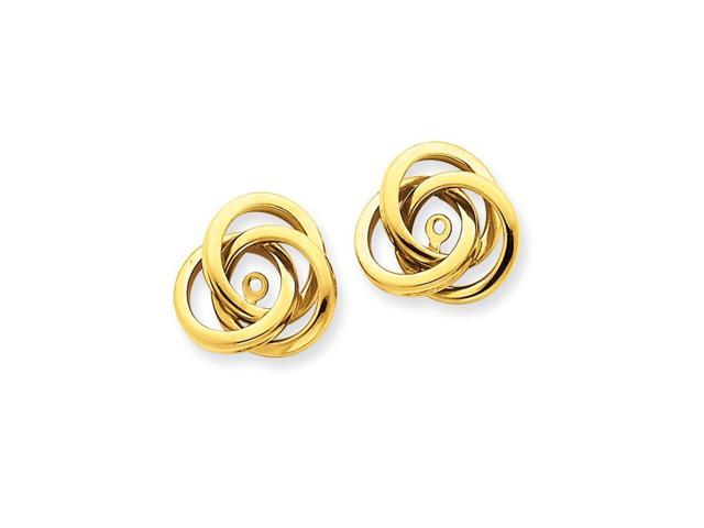 14k Yellow Gold Polished Love Knot Earrings Jackets (0.5IN x 0.5IN)