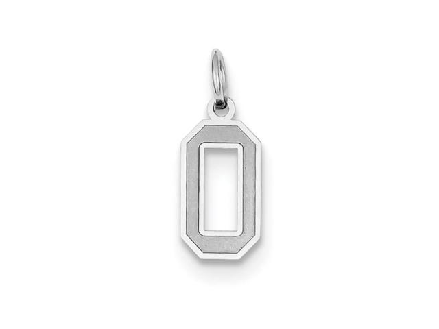 14k White Gold Small Satin Number 0 Charm Pendant