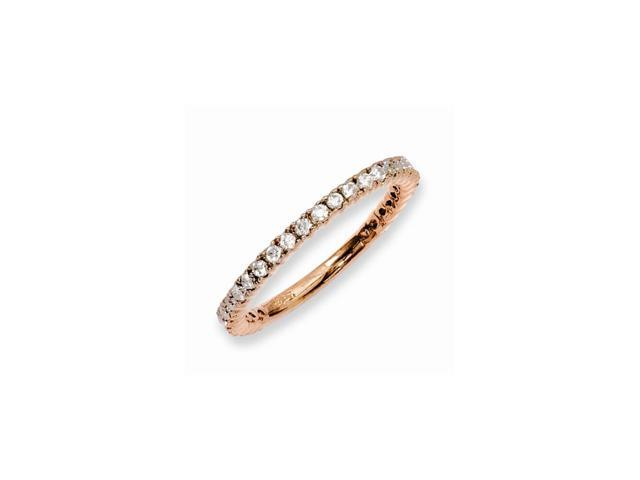 Sterling Silver 14k Rose Gold-Plated with Synthetic CZ Ring-- Size 6