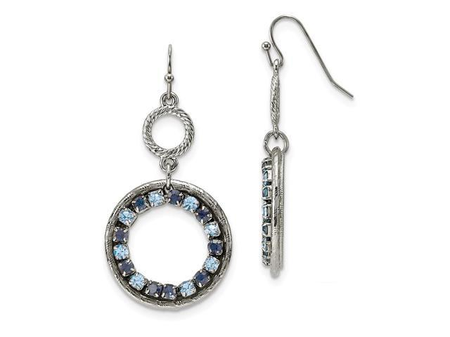 Silvertone Lt/Dk Blue Crystal Circle Drop Earrings