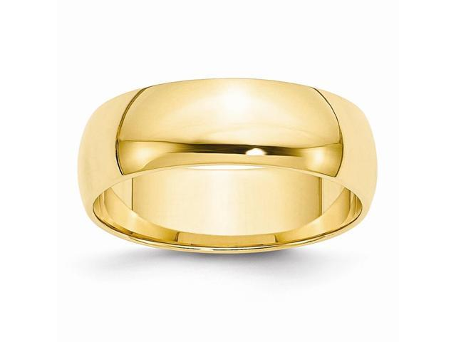 14k Yellow Gold Engravable 6mm Lightweight Half-Round Band