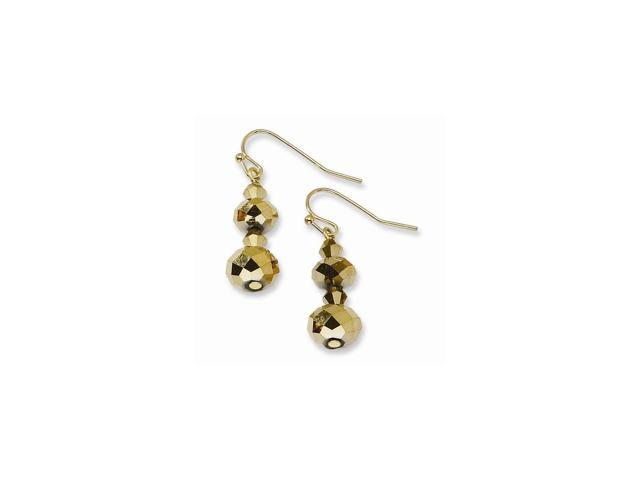 Brass-tone Light Colorado & Brown Crystal Dangle Earrings