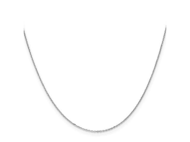 10k White Gold 18in .8mm D/C Cable Necklace Chain