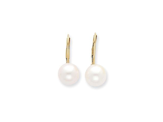14k Yellow Gold 8-8.5mm Freshwater Cultured Pearl Leverback Earrings. (0.7IN x 0.3IN)