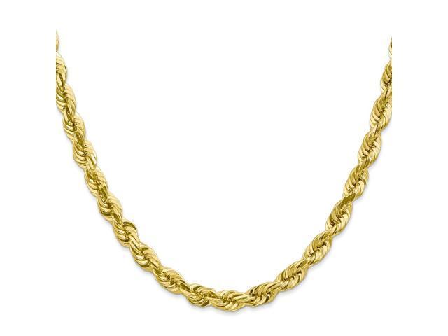 10k Yellow Gold 7in 6mm Handmade D/C Rope Chain Bracelet