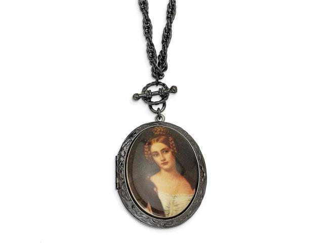 Black-plated Woman Decal Locket 30