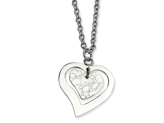 Stainless Steel Heart W/Extender Necklace (18in long)