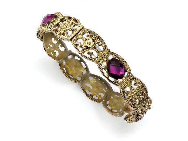 Brass-tone Purple Faceted Crystal Stretch Bracelet