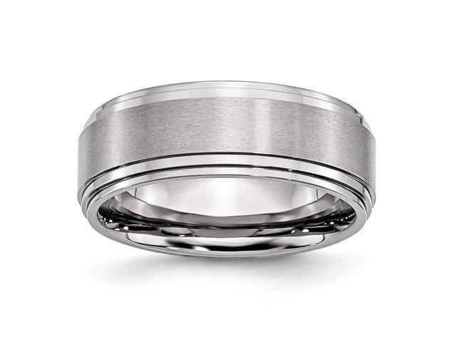 Stainless Steel 8mm Satin and Polished Engravable Band