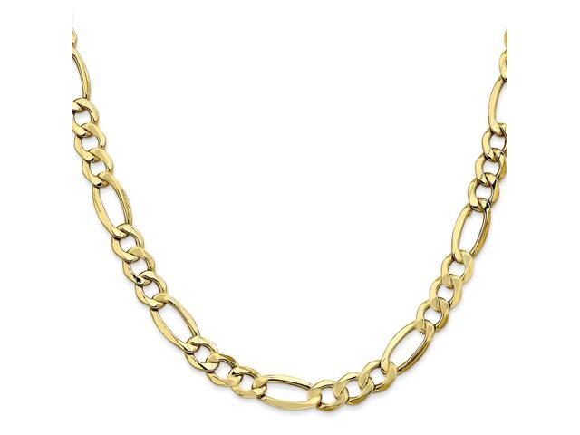 10k Yellow Gold 8in 7.3mm Semi-Solid Figaro Chain Bracelet