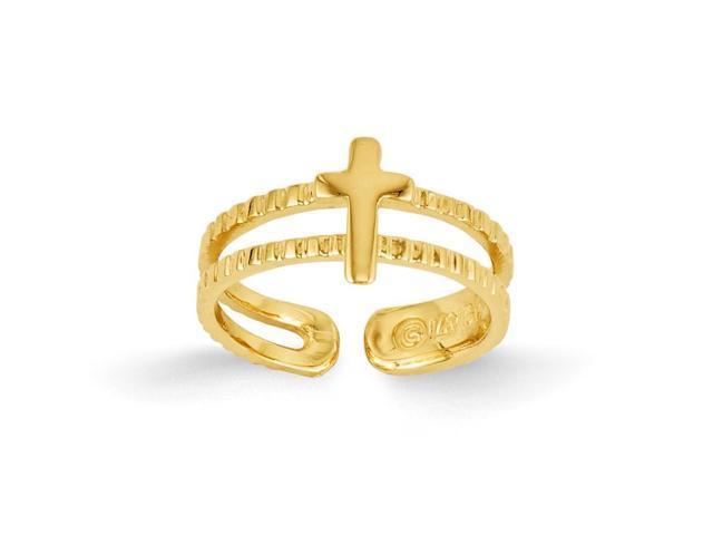 14k Yellow Gold Cross Toe Ring