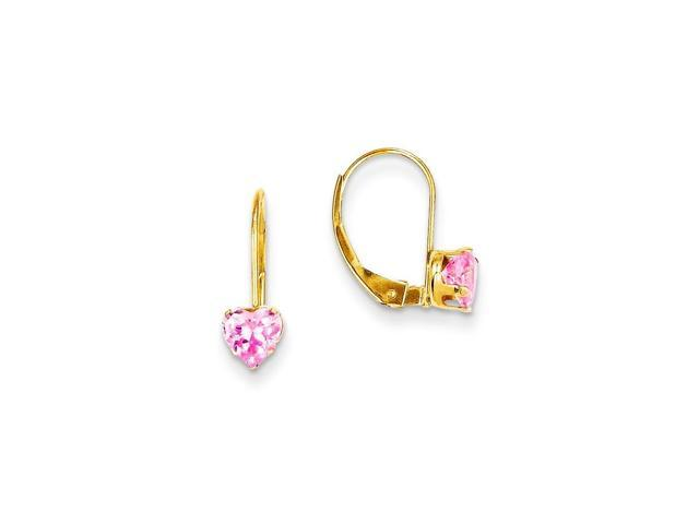 14k Yellow Gold 0.5IN Long Childs Pink Synthetic CZ Heart Leverback Earrings