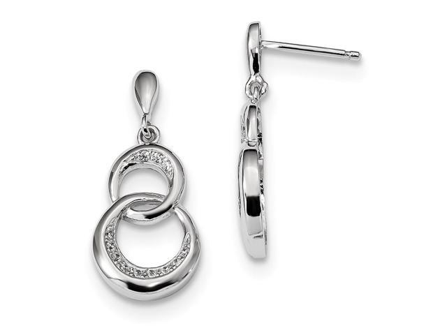 Sterling Silver Rhodium Plated & Synthetic CZ Brilliant Embers Dangle Post Earrings (0.9IN x 0.4IN )