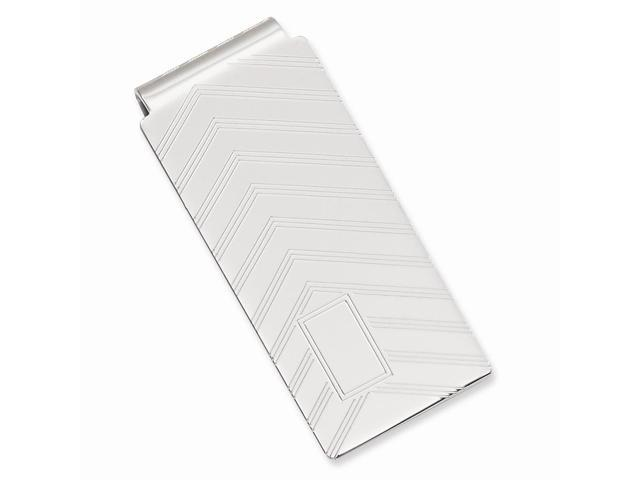 Rhodium-plated Angles Engravable Hinged Money Clip