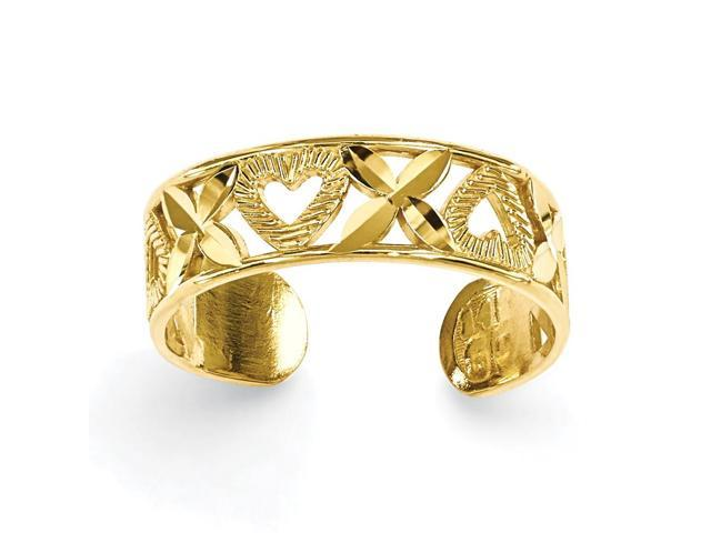14k Yellow Gold D/C X & Heart Toe Ring