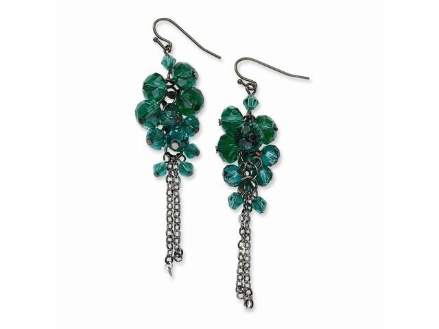 Silvertone Synthetic Green Crystal Bead Cluster Drop Earrings