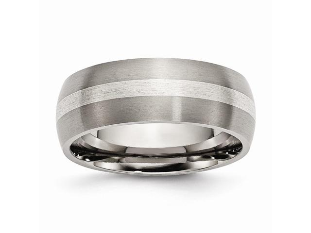 Titanium 925 Sterling Silver Engravable Inlay 8mm Brushed Band