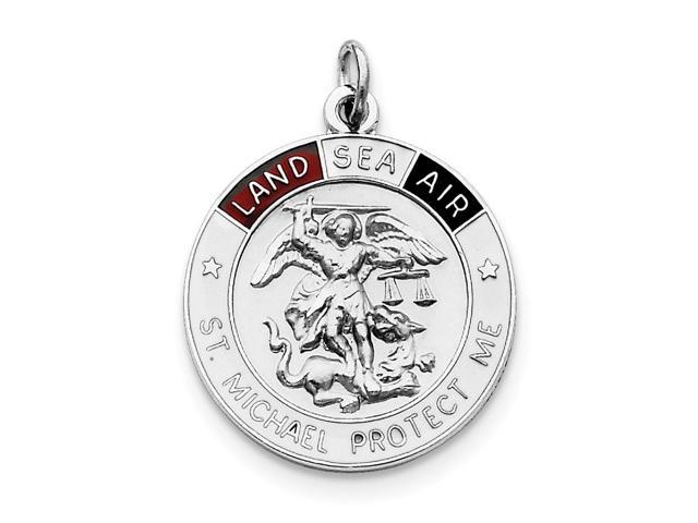 Sterling Silver Engravable Enameled Satin Saint Michael Medal