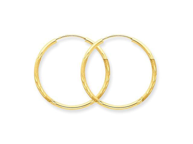 14k Yellow Gold 1.5mm Satin Diamond-cut Endless Hoop Earrings. 28mm Diameter.