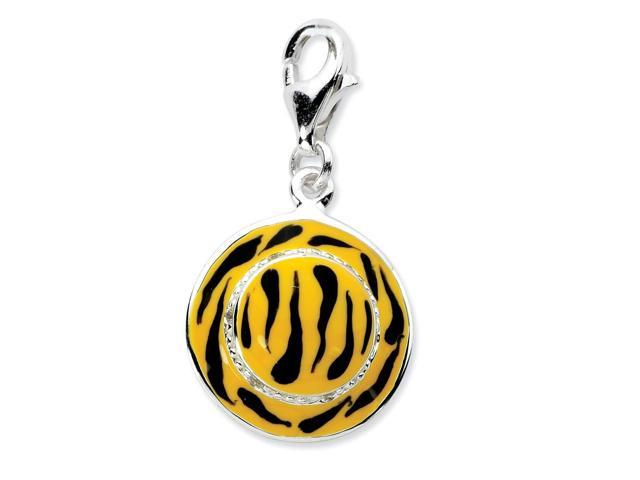 Sterling Silver Rhodium Plated Click-on Synthetic CZ Enamel Tiger Hat Charm (1IN long x 0.5IN wide)
