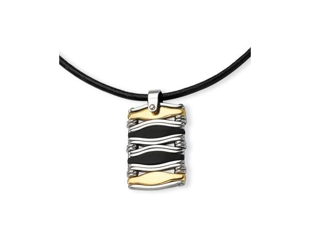 Stainless Steel Wavy Bar 14k Gold IP-plated & Rubber Rectangle Pendant 18in.