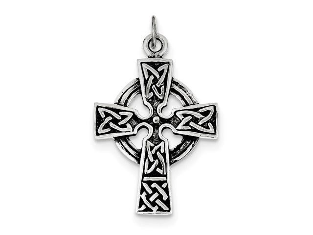 Sterling Silver Antiqued Celtic Cross Charm (1.3IN long x 0.9IN wide)