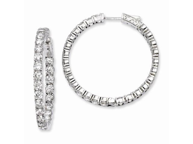 Sterling Silver Rhodium Plated with Synthetic CZ 1.3IN Hinged Hoop Earrings (1.3IN x 1.4IN )