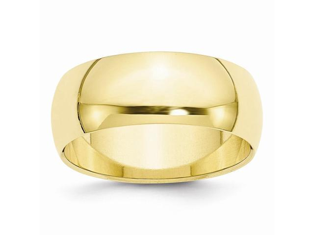 10K Yellow Gold 8mm Engravable Half-Round Band