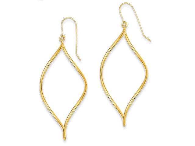 14k Yellow Gold Swirl Drop Dangle Earrings (2.3IN x 0.9IN )