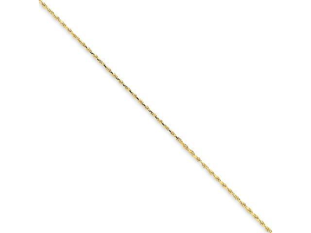 14k Yellow Gold 7in 1mm D/C Machine-Made w/ Lobster Clasp Rope Chain Bracelet