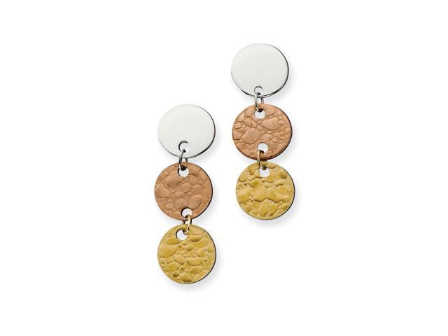 Stainless Steel 14k Gold and Rose IP Plated Circle Earrings (1.7IN x 0.5IN )