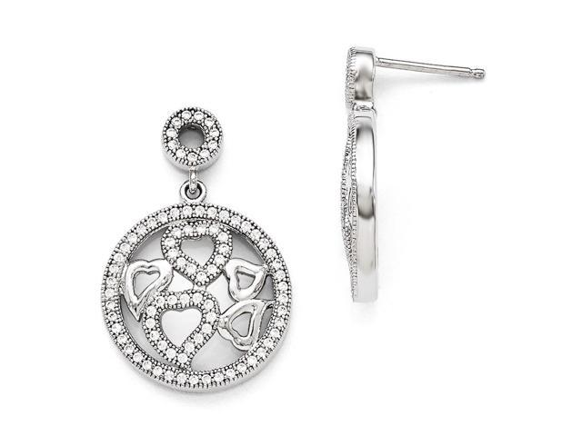 Sterling Silver Rhodium Plated & Synthetic CZ Brilliant Embers Polished Heart Dangle Post Earrings (1IN x 0.7IN )