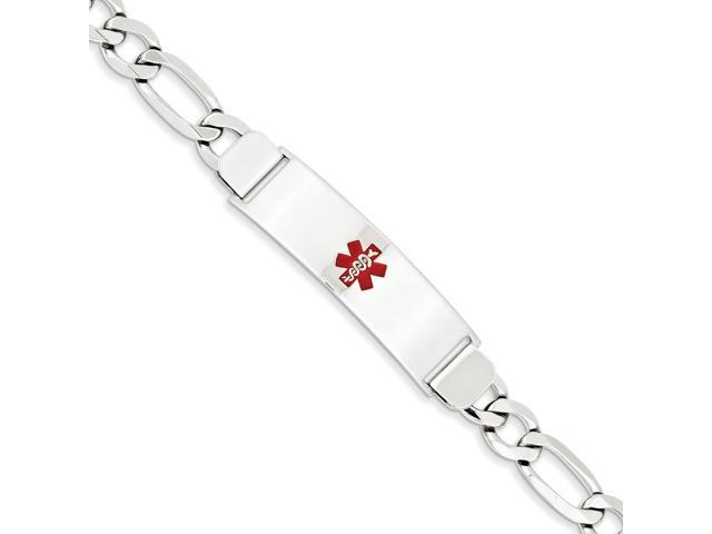14k White Gold Engravable 7in Polished Medical Jewelry ID Bracelet (Plate: 1.75in x 0.5in)