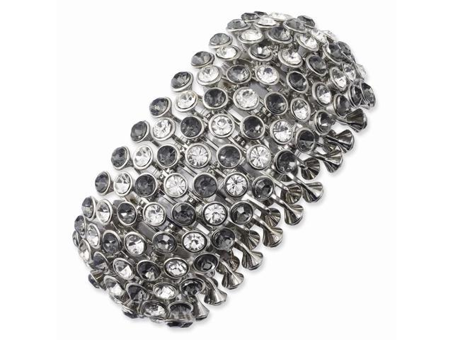 Silvertone Clear & Black Crystals Multistrand Stretch Bracelet
