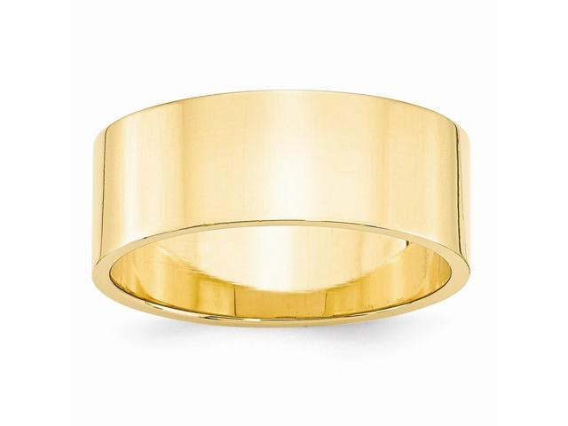 14k Yellow Gold Engravable 8mm Flat Wedding Band