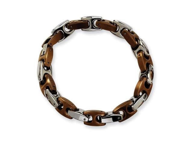 Stainless Steel Chocolate color IP-plated Fancy Bracelet. 8.25in long.