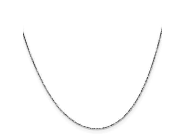 14k White 20in Gold 1mm Solid Polished Spiga Necklace Chain