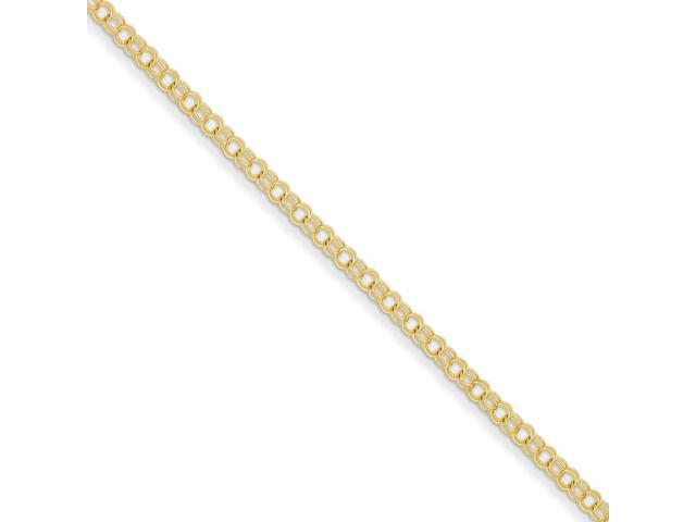 14k Yellow Gold 7in 3mm Solid Double Link Charm Bracelet