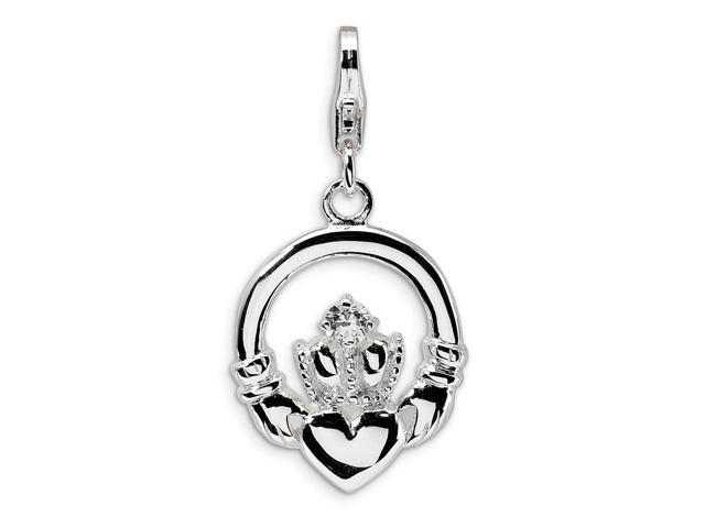 Sterling Silver Rhodium Plated Synthetic CZ Claddagh with Lobster Clasp Charm (0.7in)