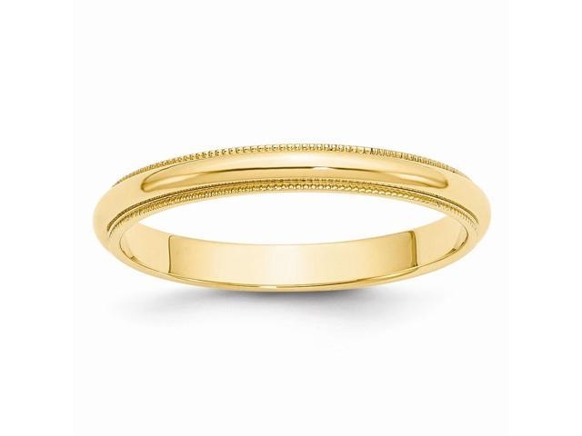 14k Yellow Gold Engravable 3mm Milgrain Half-Round Wedding Band