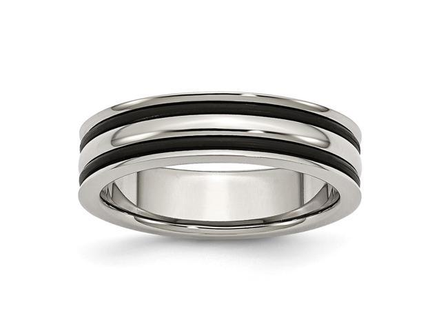Stainless Steel 6mm Grooved and Black Rubber Engravable Band