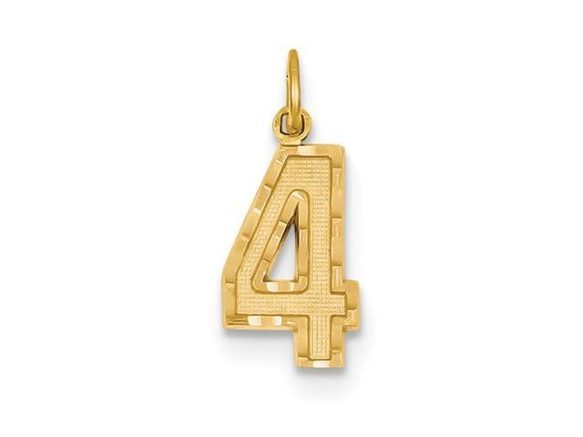 14k Yellow Gold Casted Medium D/C Number 4 Charm Pendant