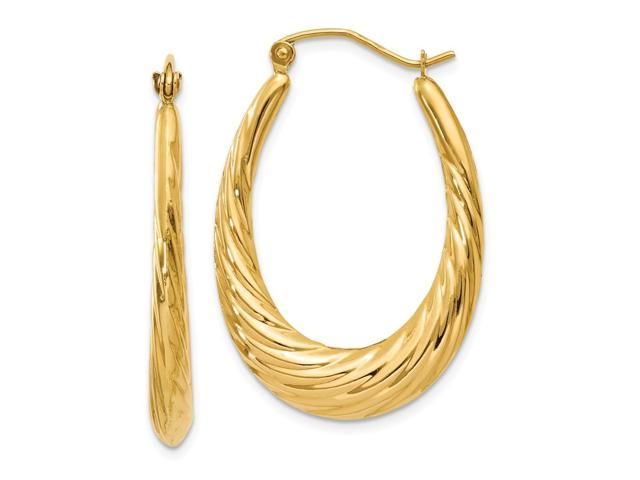 14k Yellow Gold Polished Twisted Oval Hollow Hoop Earrings. 32mm x 22mm.
