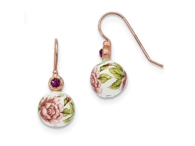 Rose-tone Purple Crystal/Rose Flower Decal Drop Earrings